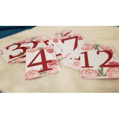 Numere de masa, cu bujori,...