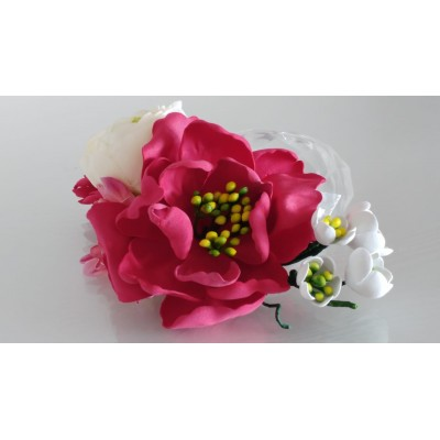 Floare de par, handmade, roz