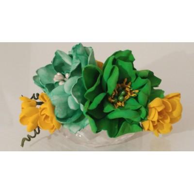 Floare de par, handmade, verde