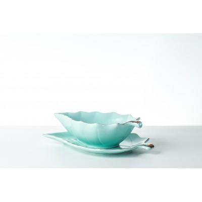 Fructiera ceramica turqoaz,...